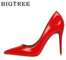 0cc1a3d9cd BIGTREE Bombas das Mulheres Sapatos de Salto Primavera 10 cm Coreano  Simples Moda Alto-Boca Rasa sapatos de salto alto Boate Est..
