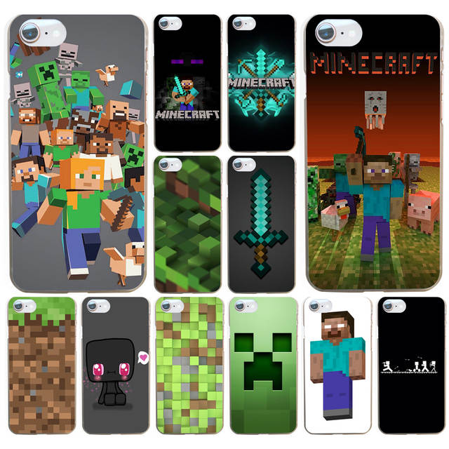 US $1 18 12% OFF|222FG minecraft Phone Hard Transparent Cover Case for  iphone 4 4s 5 5s se 6 6s 8 plus 7 7 Plus X-in Half-wrapped Case from  Cellphones