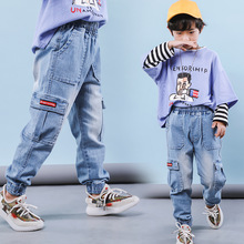 Children Boys Jeans 2019 Spring Autumn Denim Blue Trousers for Teen Boy Casual Kids Cargo Pants Baby Clothing 3T 4T 8 12 13Y