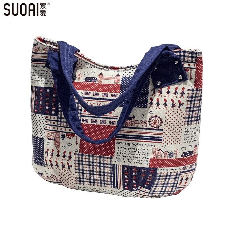 SUOAI 여성 캐주얼 Totes 품질 캔버스 여성 핸드백 영국 스타일 플래그 만화 인쇄 지퍼 가방