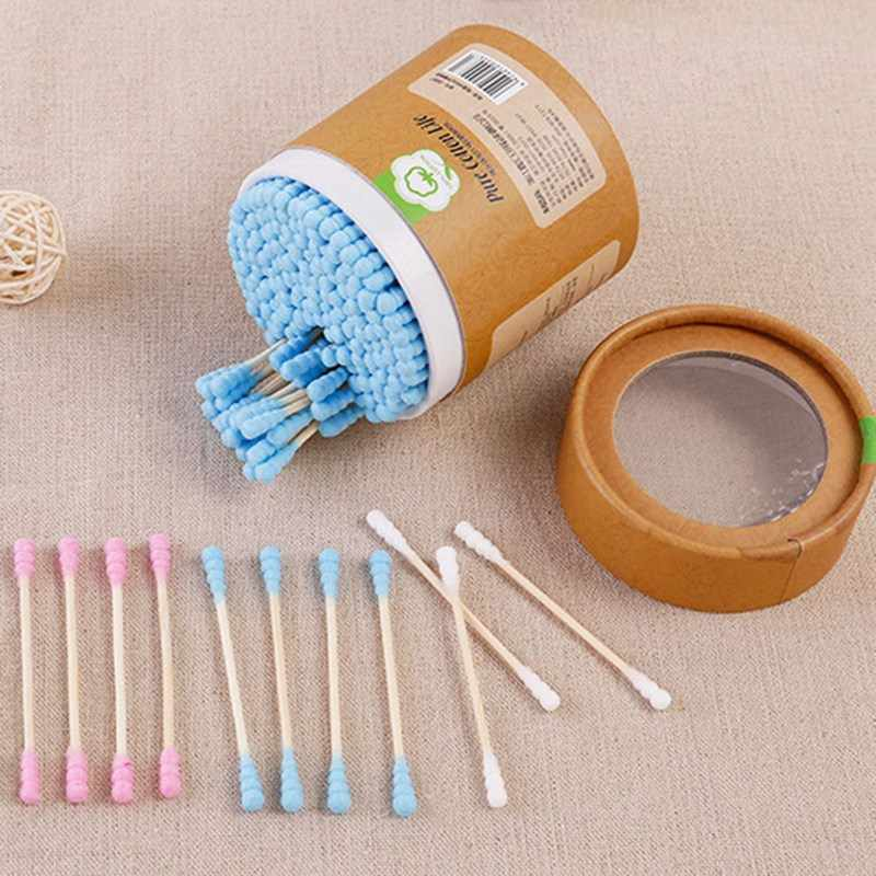 200 cái/hộp Tre Cotton Màu Đen Nụ Gạc Gỗ Sticks Mềm Bông Nụ Tai Công Cụ Làm Sạch Đôi-trọc đầu Với Tăm Bông trường hợp Năm 2019 New