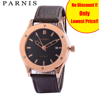 41mm Parnis Watch Mens Brand Gold Mechanical Watches Sapphire Crystal Auto Date 30m Waterproof Leather Automatic Watch Men Clock