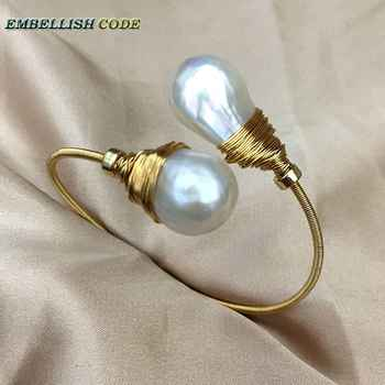 NEW simple Design gold with pearl hand make two baroque pearls bangle bracelet Designer pieces - DISCOUNT ITEM  0% OFF All Category