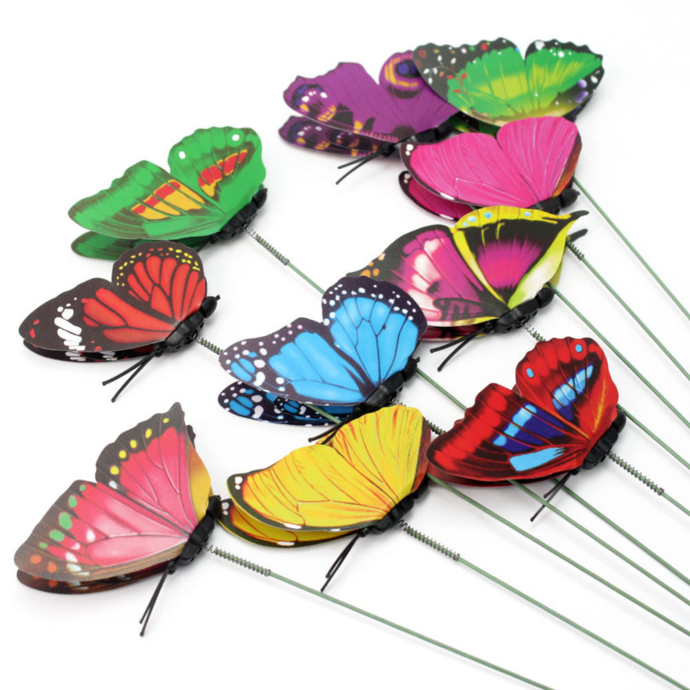 10Pcs Stylish Double Layer Butterfly On Sticks Home Flower Pot Plant Ornament