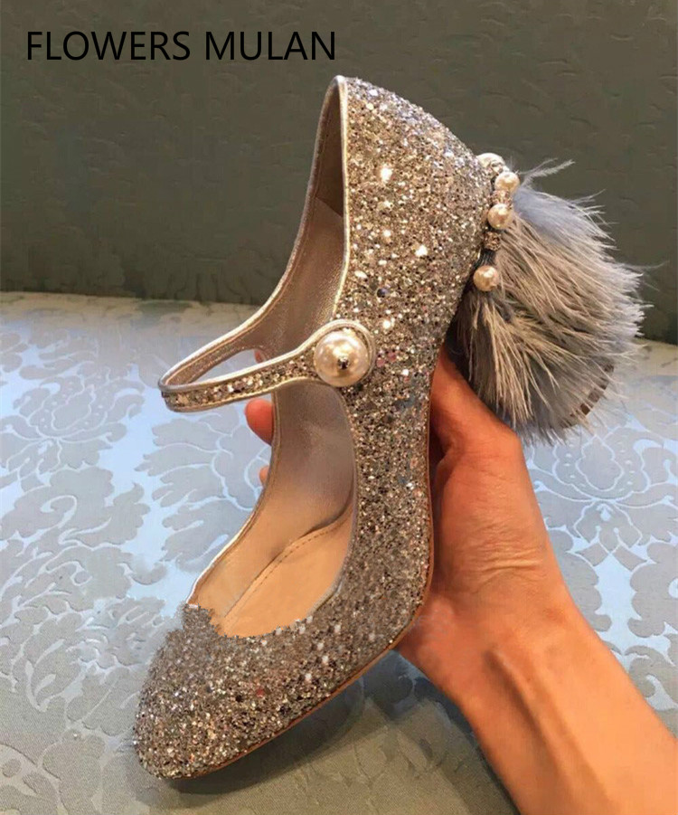 2018Svonces Stylish Fringe Feather Heel Lady Pumps Pearl Embellished Mary Jane Pumps Silver Sequins High Heel Party Shoes Women stylish rhinestones faux pearl lace flower shape embellished baseball cap for women