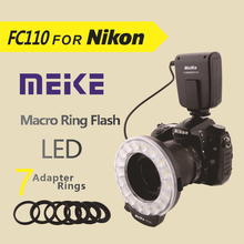 Meike FC110 LED Macro Ring Flash for Nikon D7100 D7000 D5200 D5100 D5000 D3200 D3100 D3000 D800 D600 D300s D200 D90 D80 D60(China)