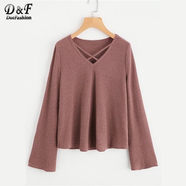 ffff661ce55b Dotfashion Crisscross Front Textured Knit Brown Top Women Long Sleeve V  Neck Plain T-Shirt Female 2019 Spring Fall Casual Tee