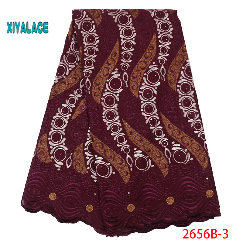 African Lace Fabric 2019 High Quality Lace Voile Lace Fabric New Design Swiss Voile Stones Lace Switzerland Add Stones YA2656B-3