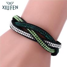 XIUFEN  Fashion Wrap Bracelets Slake Leather Bracelet With Crystals  Multi-row Velvet Couple Jewelry Christmas gift zk30