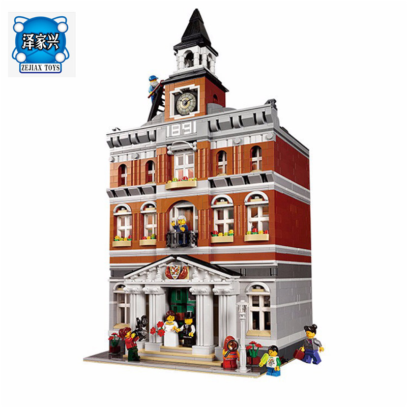 2859 PCS City Town Hall Sets Model Lepines  Building Kits Set Blocks Bricks Figures Compatible with 10224 lepin 15003 2859pcs city creator town hall sets model building kits set blocks toys for children compatible with 10024
