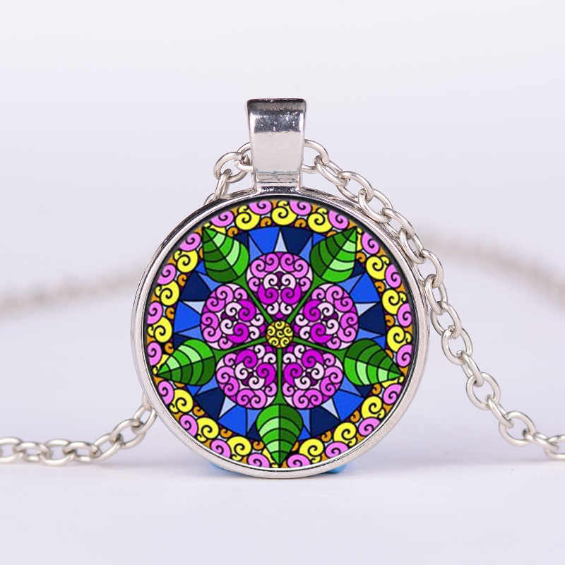 SONGDA Boho 7 Chakra color grande Mandala collar de joyería India Henna Lotus OM budismo Zen Yoga declaración collares colgantes