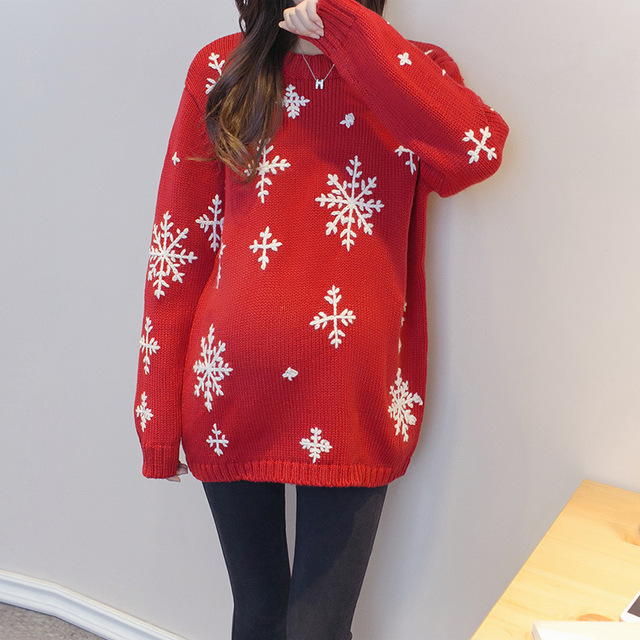 high quality fashion red sweater handmade christmas pregnant women maternity warm autumn winter long section loose - Maternity Christmas Sweater