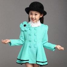 2016 Новый девочка пальто весна Осень одежда для Девочек Двойной Грудью Плеча Цветок Элегантный Принцесса Куртку Детей Верхняя Одежда