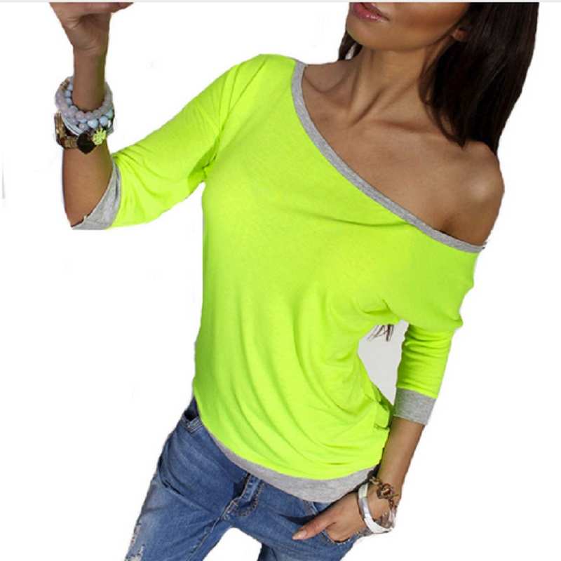 Off Shoulder Sexy Summer Women Blouses Shirt Long Sleeve New Fashion Casual Autumn Spring Top Tees Solim Slim Blusas Plus Size(China)