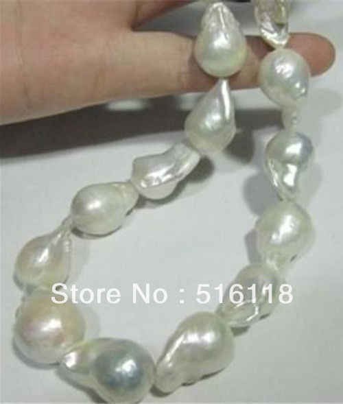 "Natural 15-25MM SOUTH SEA WHITE BAROQUE PEARL สร้อยคอ 18 ""AAA +"
