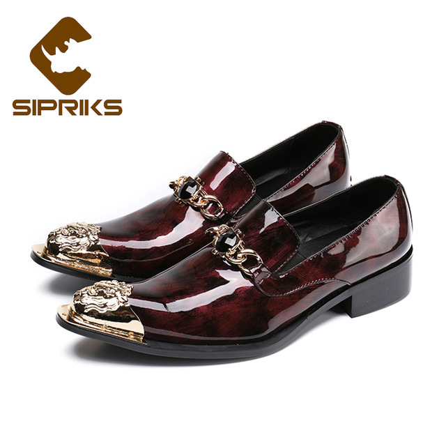 Men's Leather Loafers Pointed Toe Buckle Wedding Dress Shoes Slip-on Wine Red (US 10.5)