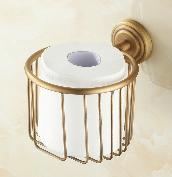 Antique Brass Wall Mounted Bathroom Solid Brass Toilet Paper Roll Holders Cba073
