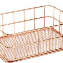 Shelves Storage-Basket Organiser Pen-Holder Brush Toiletries Wire Makeup Rose-Gold Bathroom