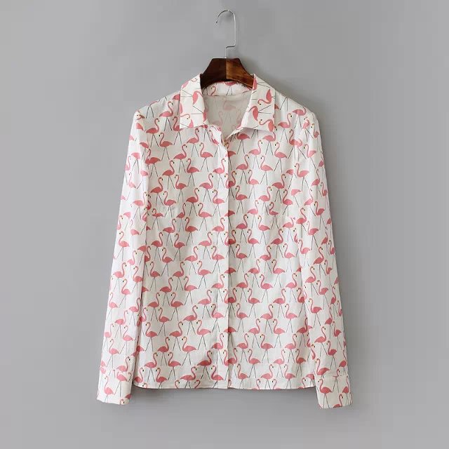 aliexpresscom buy women flamingo printed shirt casual