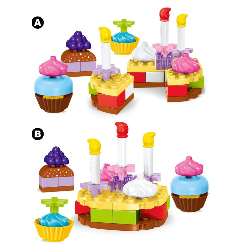 42PCS Birthday Cake Building Block Diy Party Brick Set Childrens Toys Play House Game Compatible With D