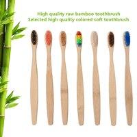 Grün 1PC Natürliche Bambus Griff Zahnbürste Regenbogen Bunte Weiß Weichen Bürste Bambus Zahnbürste Umwelt Mundpflege
