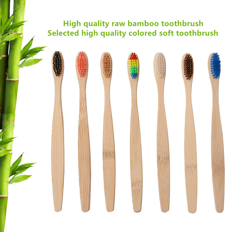 Green 1PC Natural Bamboo Handle Toothbrush Rainbow Colorful White Soft Brush Bamboo Toothbrush Environmental Oral Care image