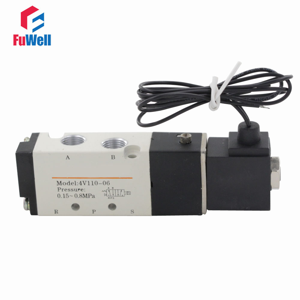 4V110-06 110V Solenoid Valve PT1/8 Pneumatic Valve Aluminum Alloy 5 Port 2 Position Air Valve Control Valve for Air Systems u s solid 1 8 5 way 2 position pneumatic electric solenoid valve dc 12 v npt thread aluminum alloy iso certificated