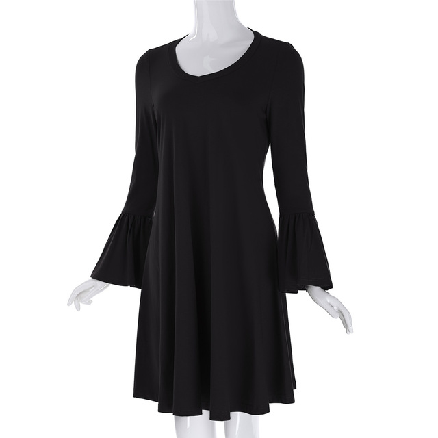 Summer Womens Vintage Dresses Solid Color Long Bell Sleeve Cotton 2017 Plus Size Women Clothing Ladies Casual Loose Dress