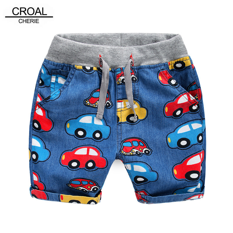 CROAL CHERIE 80-120cm Car Printing Summer Children Jeans Casual Kids Baby Boys   Shorts   Knee Trousers Clothing