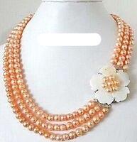 FREIES VERSCHIFFEN HEIßER verkauf neue Stil>>>> 3 Reihen Echt Rosa Pearl White Shell Blume 18 KWGP HAKEN-HALSKETTEN