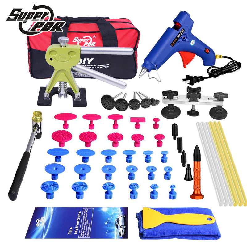 PDR Car body Dent repair tool kit Paintless dent removal tools bag bridge pulling glue dent puller dent tabs pdr hand tool set  pdr tool kit for pop a dent 57pcs car repair kit pdr tools pdr line board dent lifter set glue stricks pro pulling tabs kit