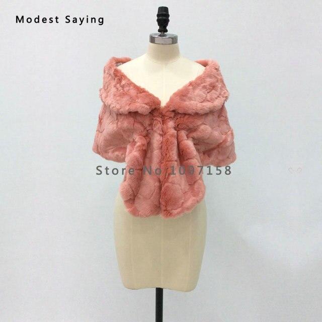 New 2017 Winter Warm Faux Fur Wedding Shrugs Imitation Rex Rabbit fur Bridal Shawls Wraps Formal Bolero Coat Wedding Accessories