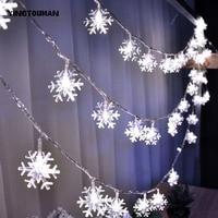 YINGTOUMAN 2018 Snowflake Lamp String Lights Christmas Holiday Party Light Decorative Lamp 200LED 22m Plugs Type