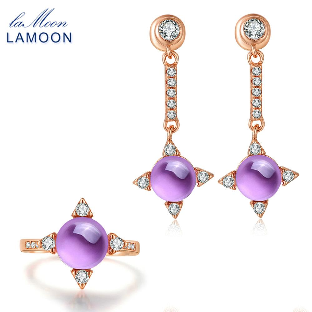 LAMOON Cross star 2.2ct Natrual Amethyst 925 sterling