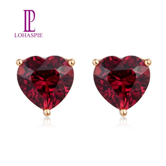 LP Customited Stud Earrings 9K 10k 14K 18K Rose gold  Heart shape Natural GemStone Rhodolite Garnet 3.355Carats Fine Jewelry