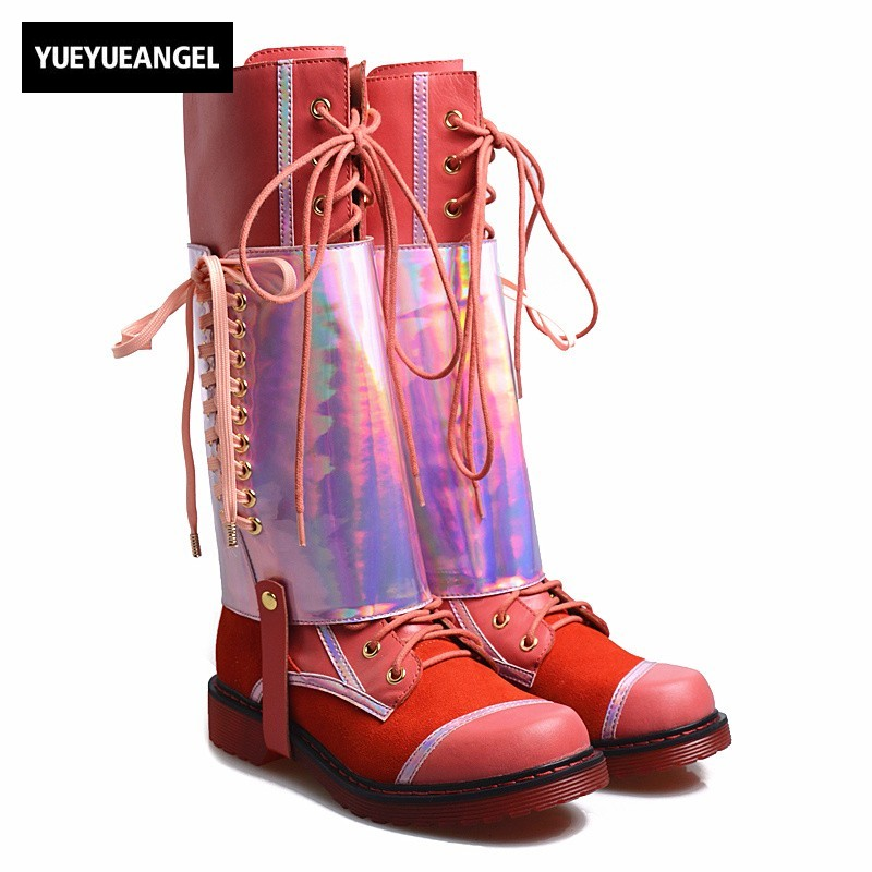 все цены на Fashion Flat Lace Up Thigh High Boots Women Plus Size 41 Casual Street Genuine Leather Martin Boots Black Low Heels Knight Botas