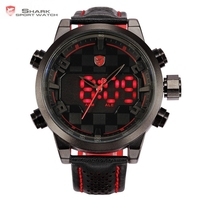 Shark Black Red Stainless Steel Case Analog Digital Dual Movement Multiple Time Zone Display Leather Strap