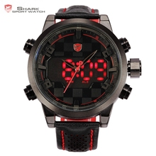 Shark Black Red Stainless Steel Case Analog Digital Dual Movement Multiple Time Zone Display Leather Strap Men LED Watch / SH203