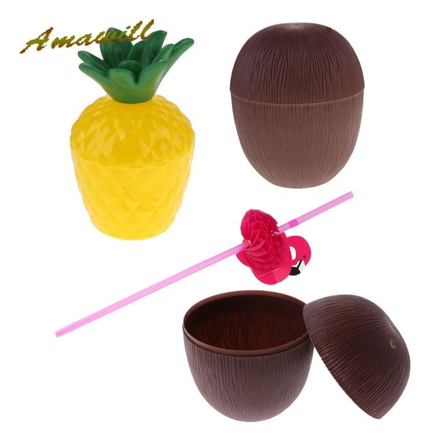 a9fe58912 Amawill Coco Abacaxi Garrafa Copo Palhas Flamingo Float Piscina Inflável  Copo Titular Presentes Decoração Do Partido