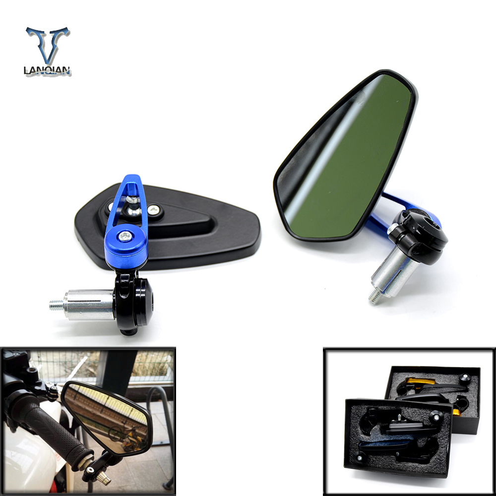 """7/8"""" Motorcycle Mirrors Handle Bar End Side Rearview Mirrors Blue Glass Cafe Racer For kawasaki z900 er6n tmax 500 yamaha fz1"""