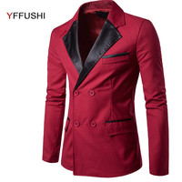 YFFUSHI 2018 New Arrival Men Suit Jacket Fashion Design Double Breasted Jacket Masculino Leather Collar Casual Slim Fit