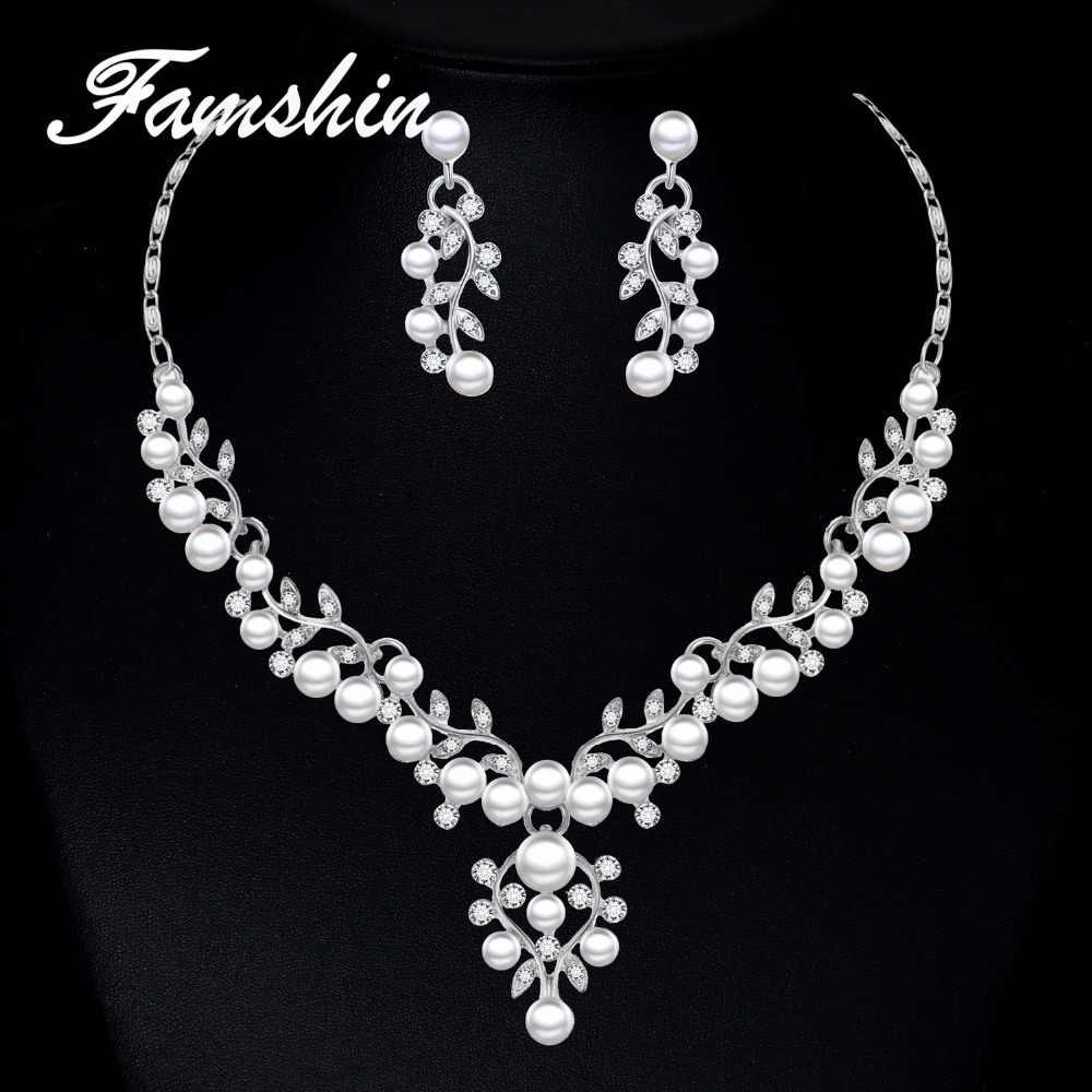 FAMSHIN Wedding Women Jewelry Sets 2018 Fashion Simulated Pearl Women Crystal Flower Necklace Earring Set Party bijoux Leaf Sets