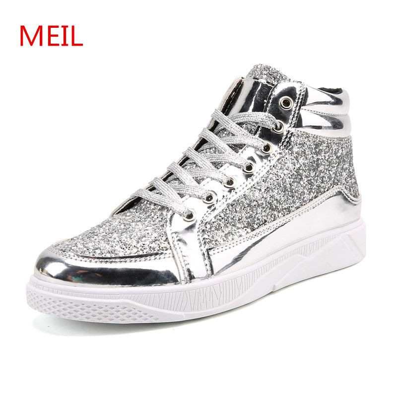 Fashion Men shoes Flats Golden Silver Sequins zapatillas hombre Casual Shoes chaussure homme sneakers leather shoes men sapatos 2017new men casual shoes elastic breathable massage flats shoes spring summer men s flats men sapatos chaussure homme masculinos