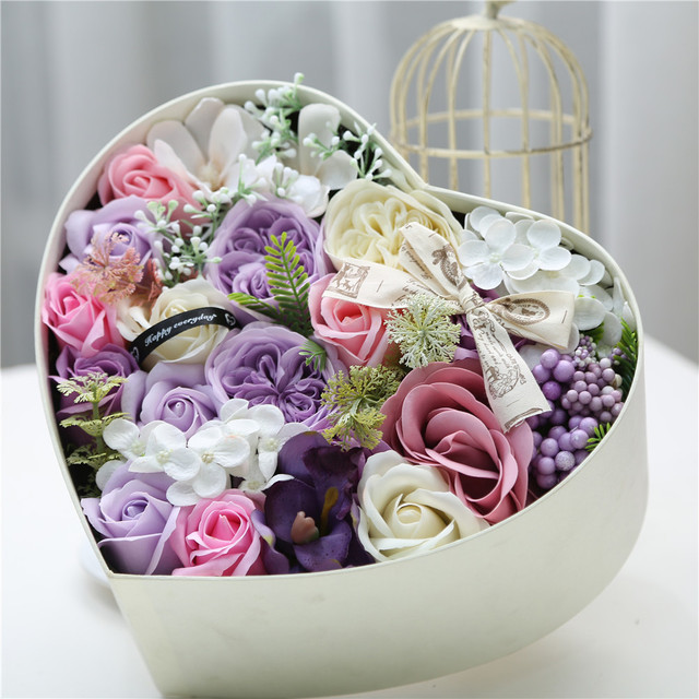 1pcs Rose Artificial Soap Fragrant Wedding Bouquets Flowers With Gift Box For Girlfriend Birthday Gifts