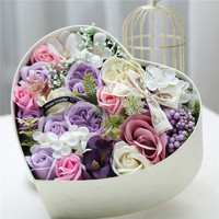1pcs Rose Artificial Soap Fragrant Wedding Bouquets Flowers with Gift Box for Girlfriend' Birthday Gifts 25*25*12cm