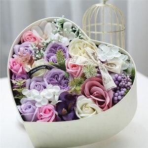 Jabón Artificial de rosas fragantes para boda, 1 Uds., ramos de flores con caja de regalo para amigas, regalos de cumpleaños de 25x25x12cm