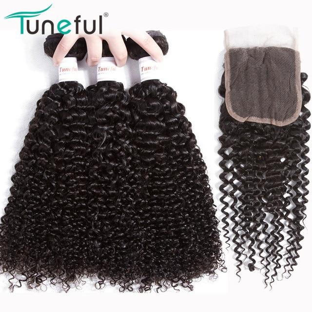 Cabello humano rizado malayo 3 paquetes con cierre sintonizador 100% cabello Remy sin enredos paquetes con cierre