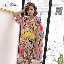 2019 Summer lace patchwork sequins dresses cartoon print loose short sleeve women