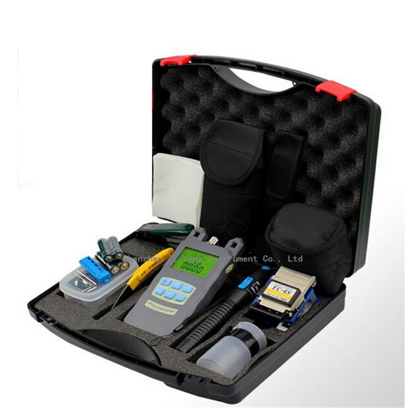 10pcs lot Fiber Optic FTTH Tool Kit with FC 6S Fiber Cleaver and Optical Power Meter