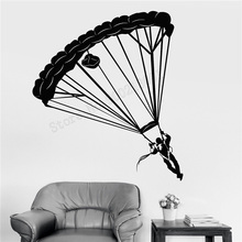 Wall Art Sticker Skydiver Parachute Decoration Modern Sports Ornament  Extreme Room Removeable Mural LY423